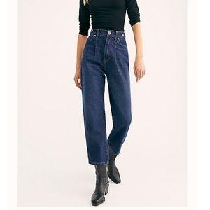 Free People Pleated Straight Leg Jeans
